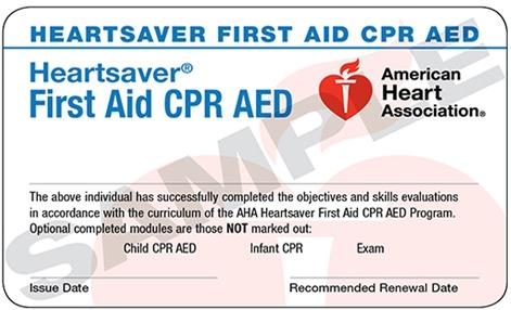 美国心脏协会大众HS急救证书